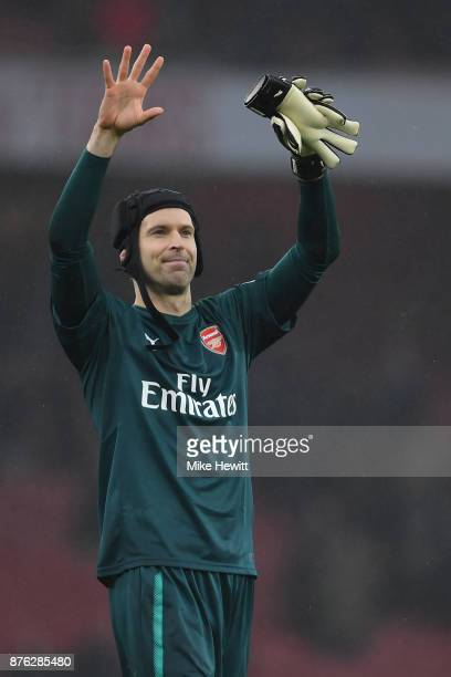 Petr Cech of Arsenal celebrates at the end of the Premier League match between Arsenal and Tottenham Hotspur at Emirates Stadium on November 18 2017...