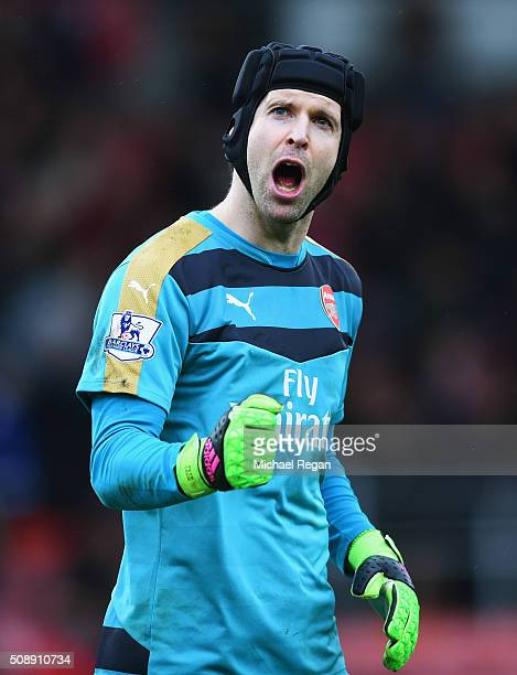 Petr Cech of Arsenal celebrates victory after the Barclays Premier League match between AFC Bournemouth and Arsenal at the Vitality Stadium on...