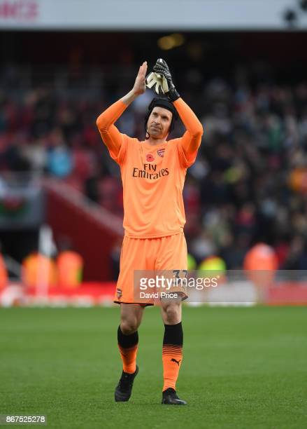 Petr Cech of Arsenal claps the fans after the Premier League match between Arsenal and Swansea City at Emirates Stadium on October 28 2017 in London...