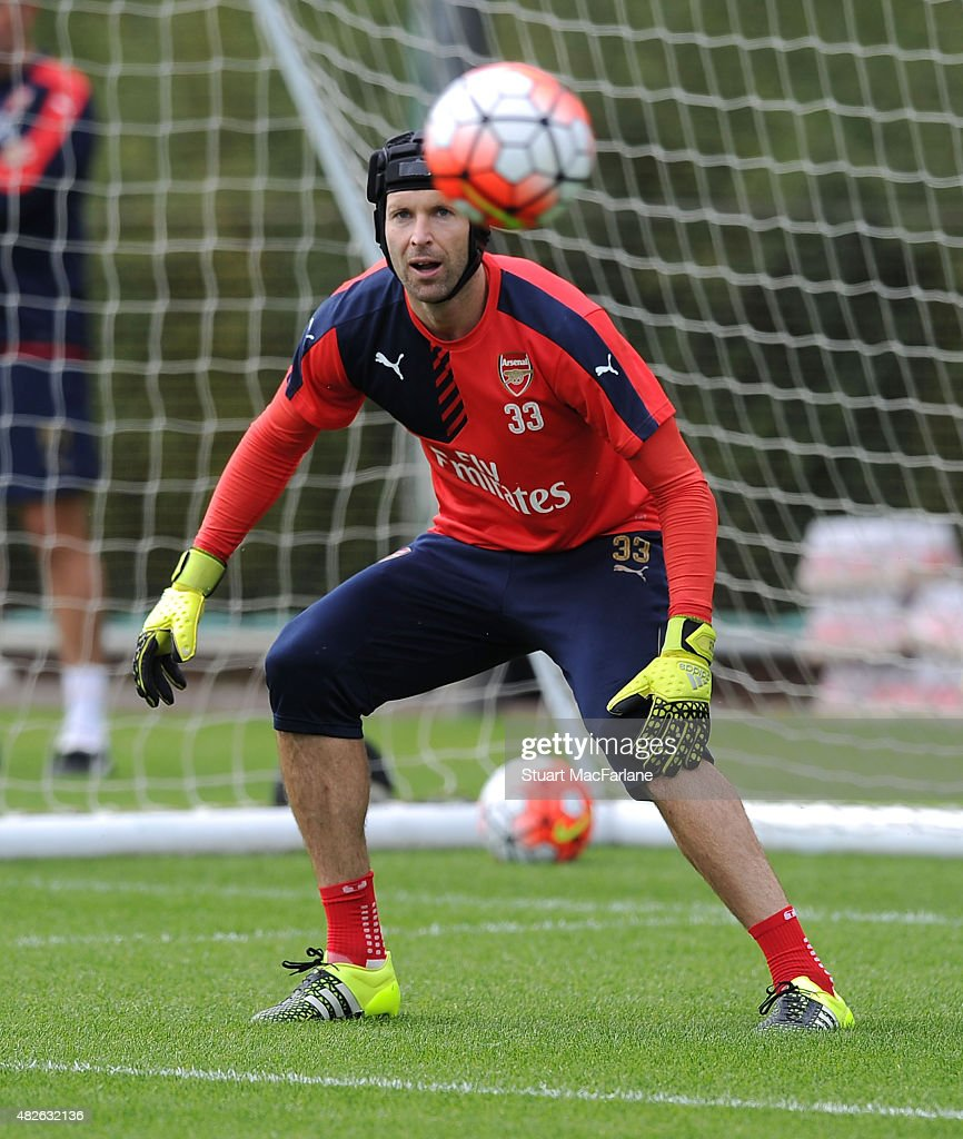 Petr Cech of Arsenal during a training session at London Colney on August 1, 2015 in St Albans, England.