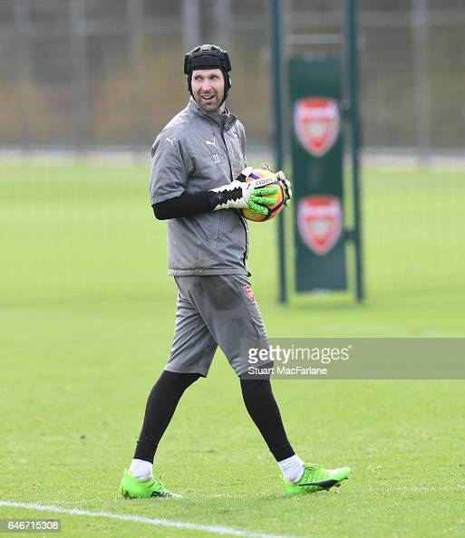 Petr Cech of Arsenal during a training session at London Colney on March 1 2017 in St Albans England