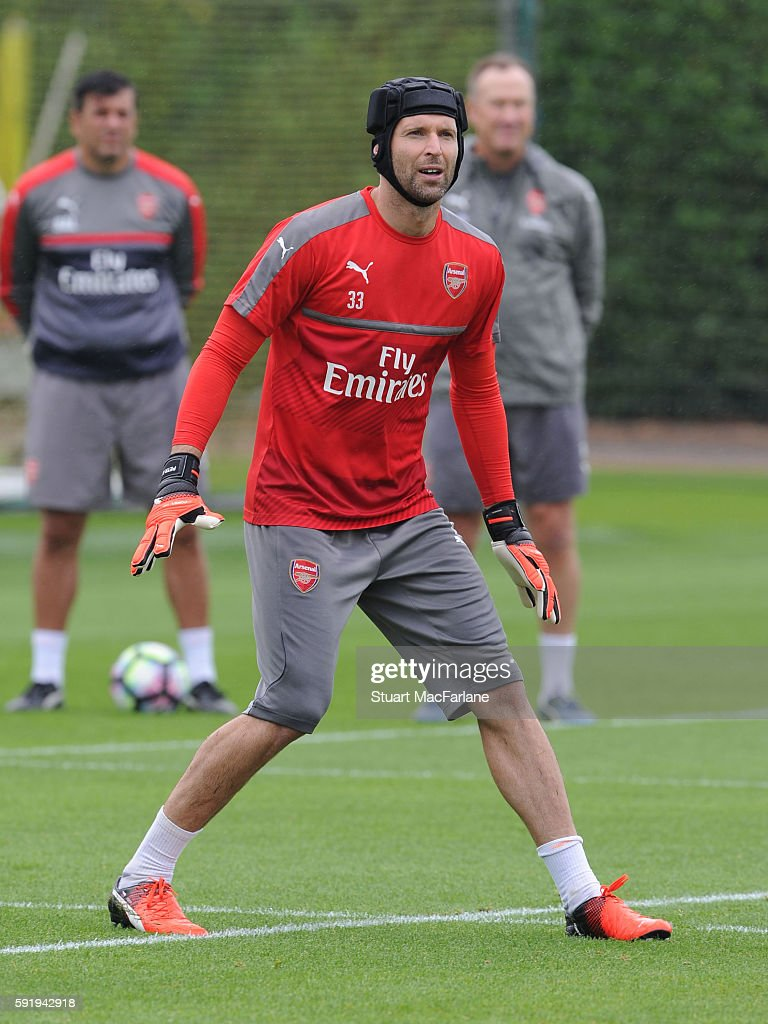Petr Cech of Arsenal during a training session at London Colney on August 19 2016 in St Albans England