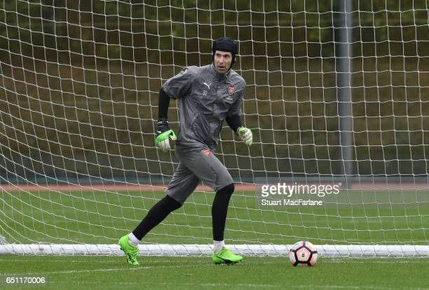 Petr Cech of Arsenal during a training session at London Colney on March 10 2017 in St Albans England