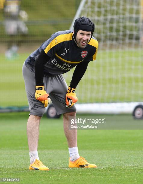 Petr Cech of Arsenal during a training session at London Colney on April 22 2017 in St Albans England