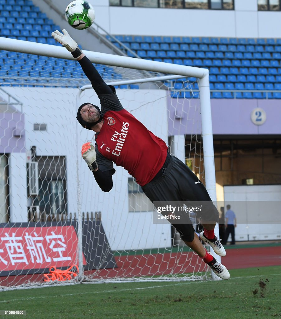 Petr Cech of Arsenal during an Arsenal Training Session at Yuanshen Sports Centre Stadium on July 17, 2017 in Shanghai, China.