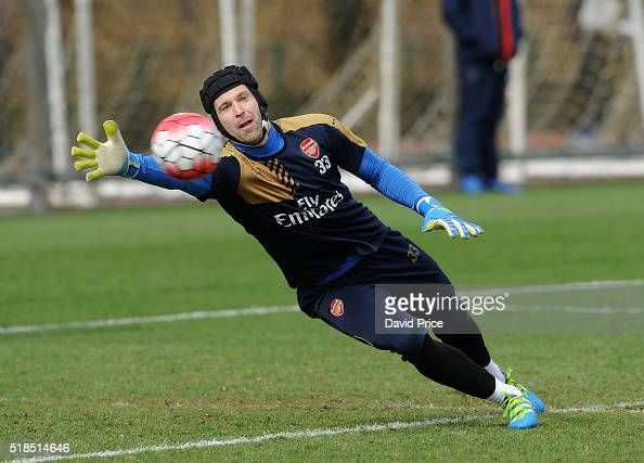Petr Cech of Arsenal during the Arsenal Training Session at London Colney on April 1 2016 in St Albans England