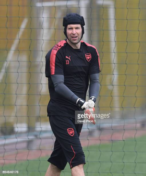 Petr Cech of Arsenal during the Arsenal Training Session at London Colney on September 27 2017 in St Albans England