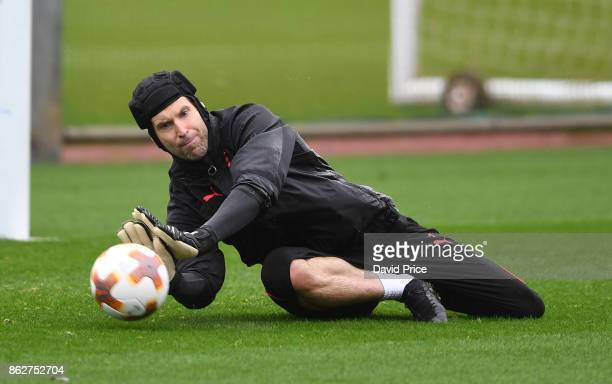 Petr Cech of Arsenal during the Arsenal Training Session at London Colney on October 18 2017 in St Albans England