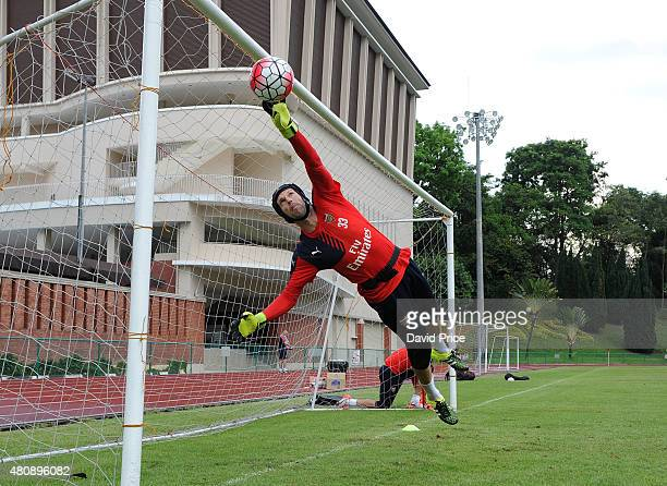 Petr Cech of Arsenal during the Arsenal Training Session at Singapore American School on July 16 2015 in Singapore