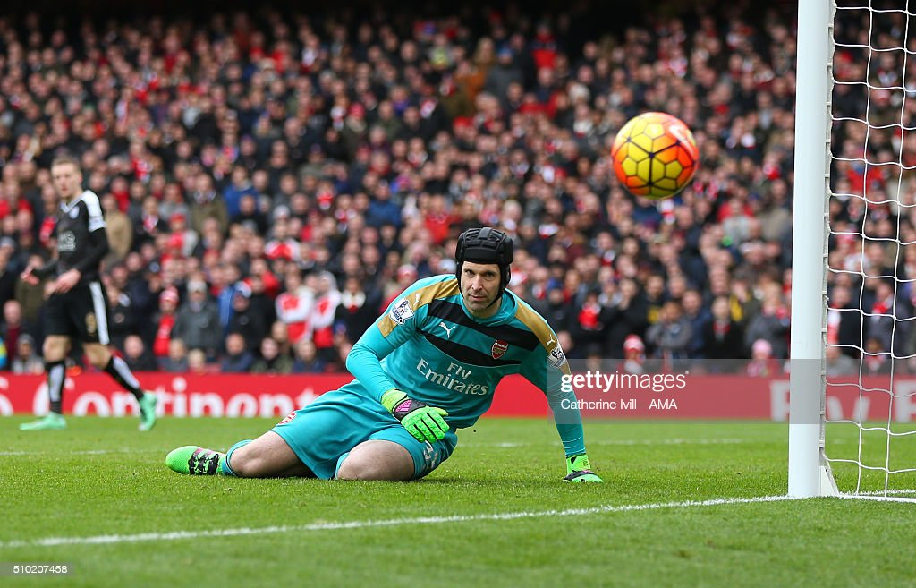 <a gi-track='captionPersonalityLinkClicked' href=/galleries/search?phrase=Petr+Cech&family=editorial&specificpeople=212890 ng-click='$event.stopPropagation()'>Petr Cech</a> of Arsenal during the Barclays Premier League match between Arsenal and Leicester City at the Emirates Stadium on February 14, 2016 in London, England.