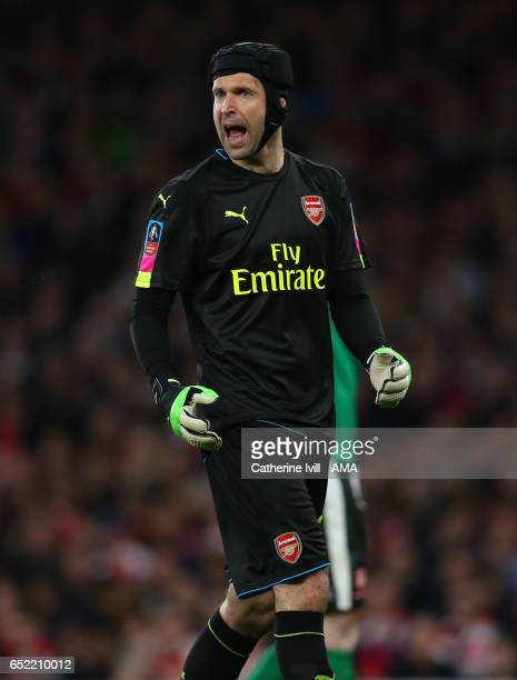 Petr Cech of Arsenal during The Emirates FA Cup QuarterFinal match between Arsenal and Lincoln City at Emirates Stadium on March 11 2017 in London...