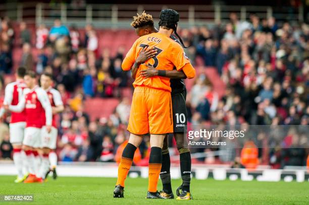 Petr Cech of Arsenal embraces Tammy Abraham of Swansea City during the Premier League match between Arsenal and Swansea City at Emirates stadium on...