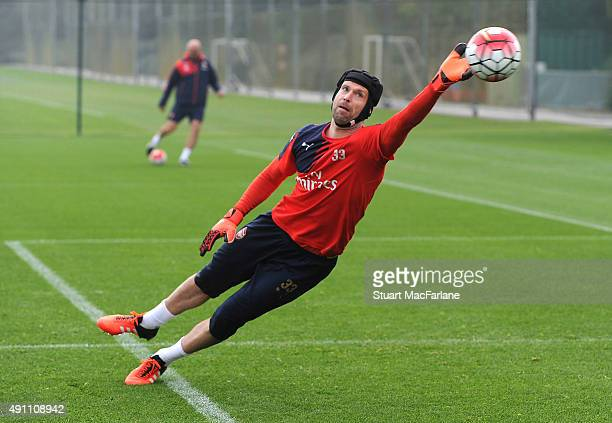 Petr Cech of Arsenal in action during a training session at London Colney on October 3 2015 in St Albans England
