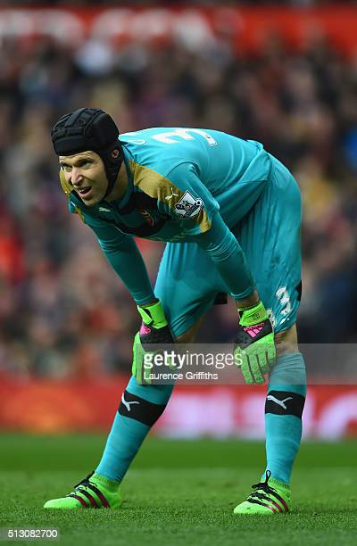 Petr Cech of Arsenal in action during the Barclays Premier League match between Manchester United and Arsenal at Old Trafford Stadium on February 28...