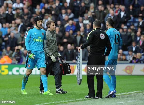 Petr Cech of Arsenal is replaced by David Opsina during the Premier League match between West Bromwich Albion and Arsenal at The Hawthorns on March...