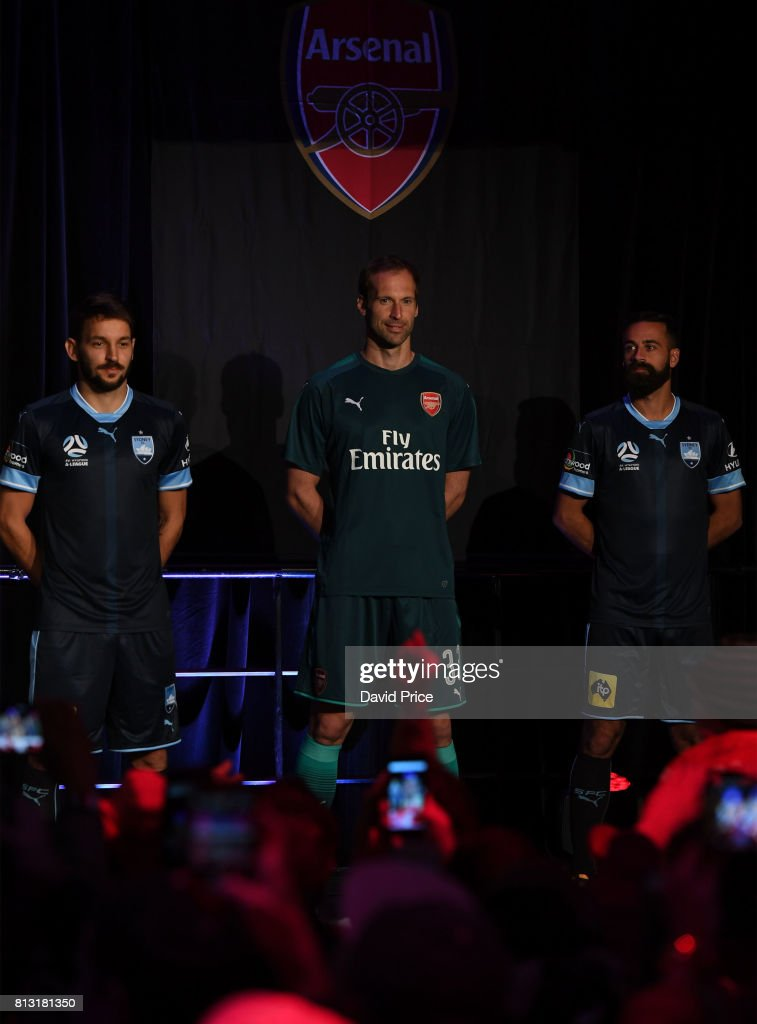 Petr Cech of Arsenal launches the new Puma Arsenal 3rd kit on Sydney Harbour on July 12, 2017 in Sydney, Australia.