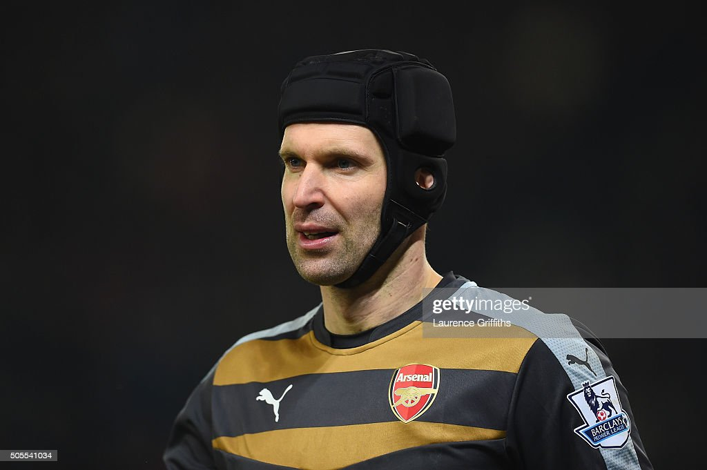 <a gi-track='captionPersonalityLinkClicked' href=/galleries/search?phrase=Petr+Cech&family=editorial&specificpeople=212890 ng-click='$event.stopPropagation()'>Petr Cech</a> of Arsenal looks on during the Barclays Premier League match between Stoke City and Arsenal at The Britannia Stadium on January 17, 2016 in Stoke on Trent, England.
