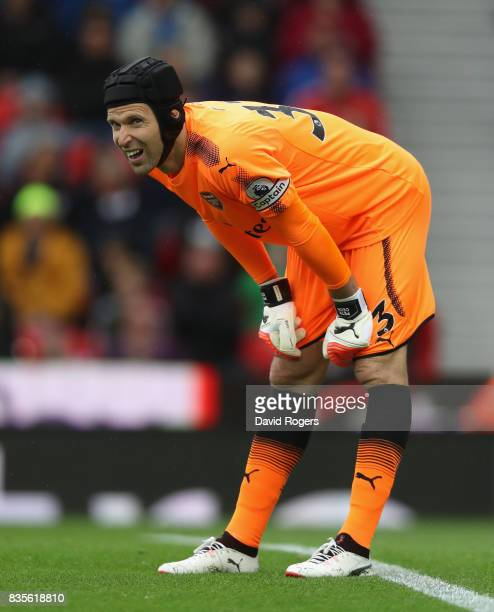 Petr Cech of Arsenal looks on during the Premier League match between Stoke City and Arsenal at Bet365 Stadium on August 19 2017 in Stoke on Trent...