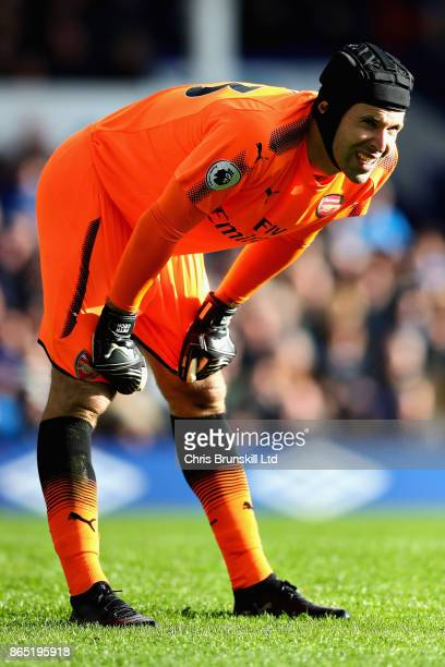Petr Cech of Arsenal looks on during the Premier League match between Everton and Arsenal at Goodison Park on October 22 2017 in Liverpool England