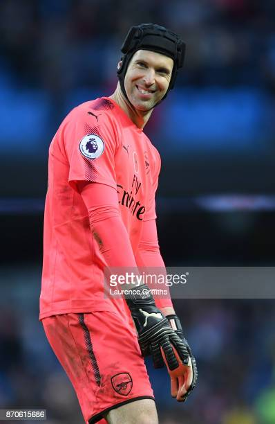 Petr Cech of Arsenal looks on with a smile during the Premier League match between Manchester City and Arsenal at Etihad Stadium on November 5 2017...