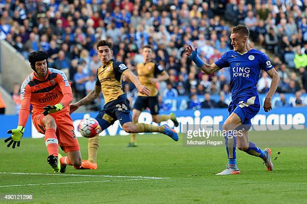 Petr Cech of Arsenal makes a save a shot by Jamie Vardy of Leicester City during the Barclays Premier League match between Leicester City and Arsenal...