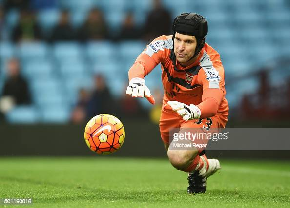 Petr Cech of Arsenal makes a save during the Barclays Premier League match between Aston Villa and Arsenal at Villa Park on December 13 2015 in...