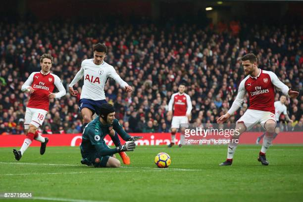 Petr Cech of Arsenal makes the save in front of Dele Alli of Tottenham Hotspur during the Premier League match between Arsenal and Tottenham Hotspur...
