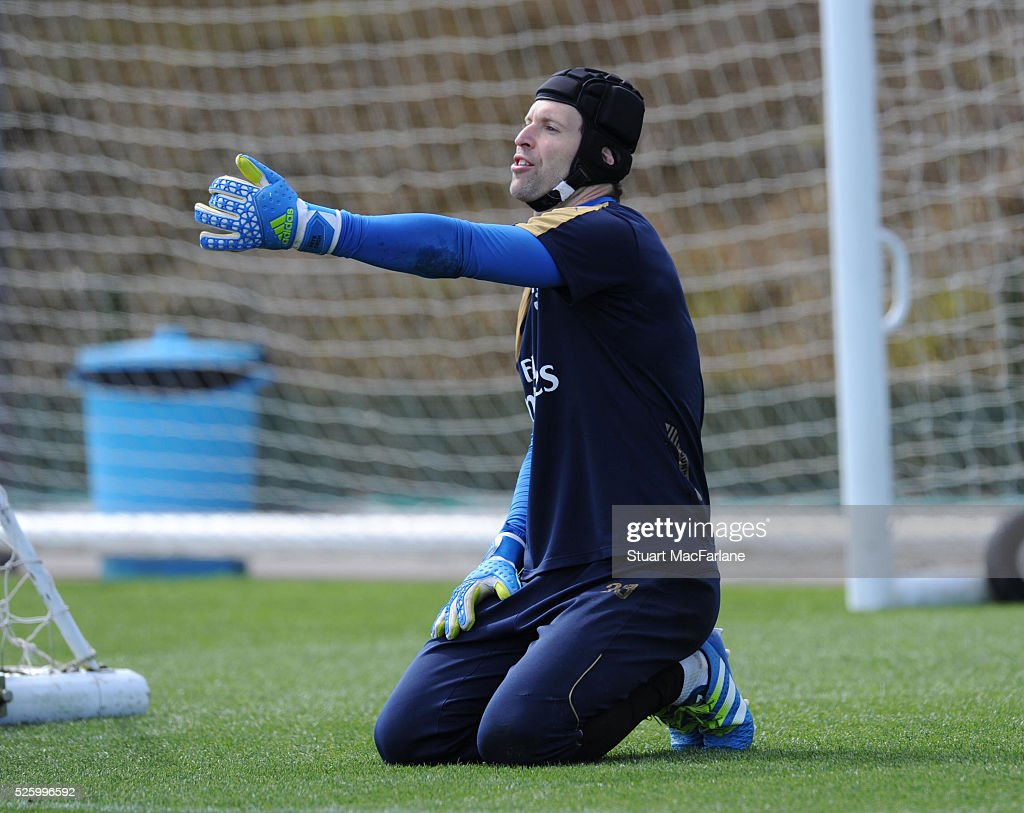Petr Cech of Arsenal reacts during a training session at London Colney on April 29, 2016 in St Albans, England.