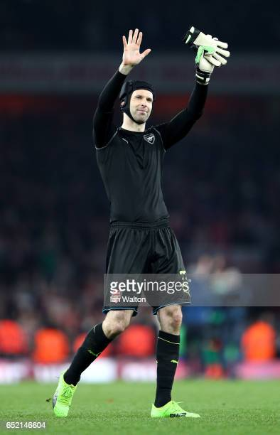Petr Cech of Arsenal shows appreciation to the fans after The Emirates FA Cup QuarterFinal match between Arsenal and Lincoln City at Emirates Stadium...