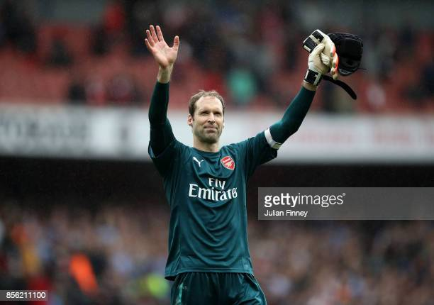 Petr Cech of Arsenal shows appreciation to the fans after the Premier League match between Arsenal and Brighton and Hove Albion at Emirates Stadium...
