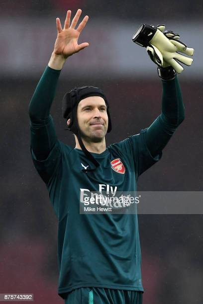 Petr Cech of Arsenal shows appreciation to the fans after the Premier League match between Arsenal and Tottenham Hotspur at Emirates Stadium on...
