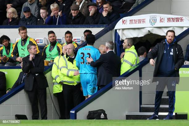 Petr Cech of Arsenal walks down the tunnel after he comes off injured during the Premier League match between West Bromwich Albion and Arsenal at The...