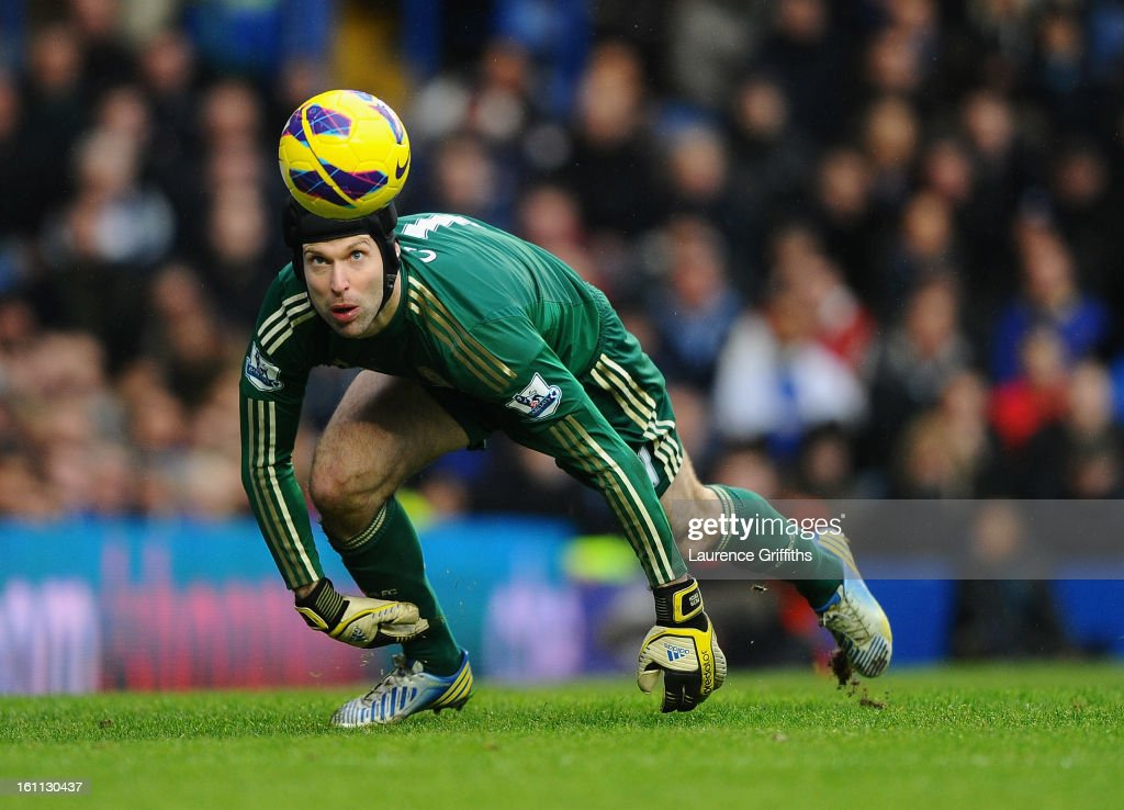 Petr Cech of Chelsea dives to make a save during the Barclays Premier League match between Chelsea and Wigan Athletic at Stamford Bridge on February 9, 2013 in London, England.