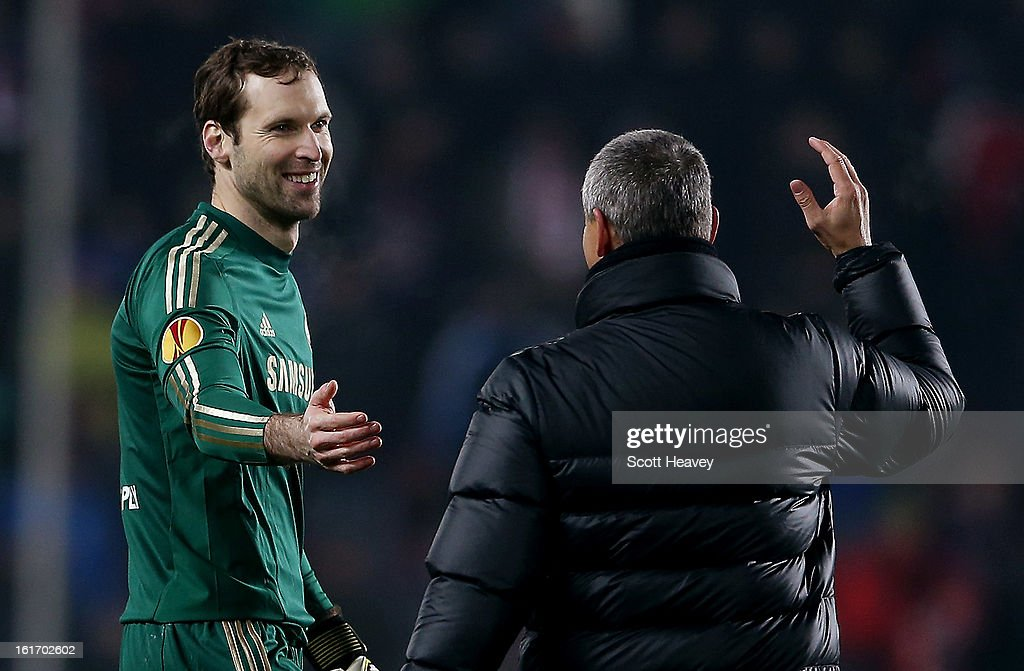 <a gi-track='captionPersonalityLinkClicked' href=/galleries/search?phrase=Petr+Cech&family=editorial&specificpeople=212890 ng-click='$event.stopPropagation()'>Petr Cech</a> of Chelsea during the UEFA Europa League match between AC Sparta Praha and Chelsea on February 14, 2013 in Prague, Czech Republic.