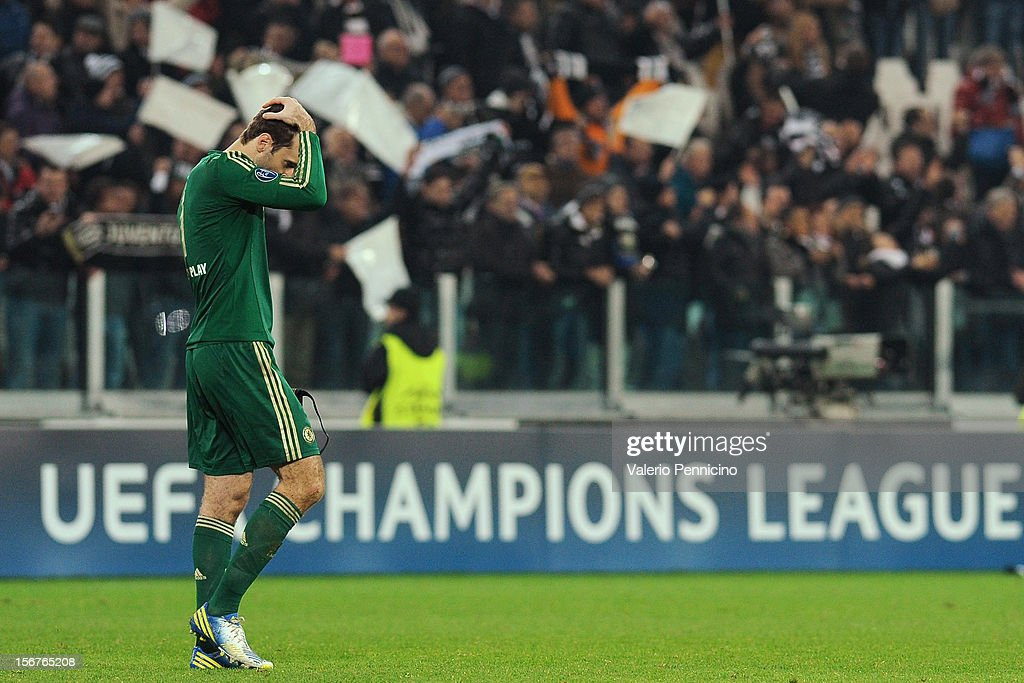 Petr Cech of Chelsea FC looks dejected at the end of the UEFA Champions League Group E match between Juventus and Chelsea FC at Juventus Arena on November 20, 2012 in Turin, Italy.