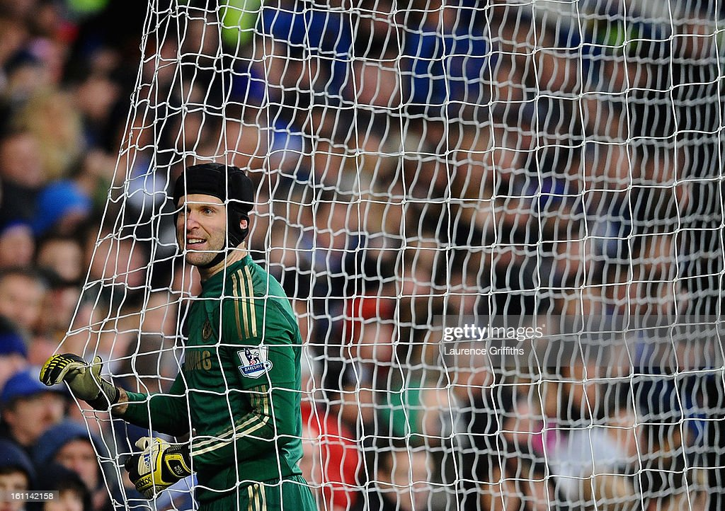 Petr Cech of Chelsea in action during the Barclays Premier League match between Chelsea and Wigan Athletic at Stamford Bridge on February 9, 2013 in London, England.