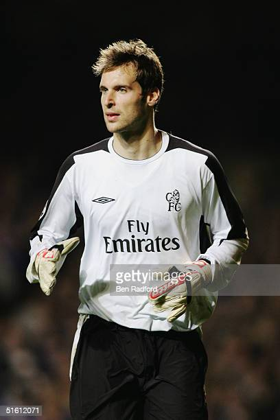 Petr Cech of Chelsea in action during the UEFA Champions League Group H match between Chelsea and CSKA Moscow at Stamford Bridge on October 20 2004...