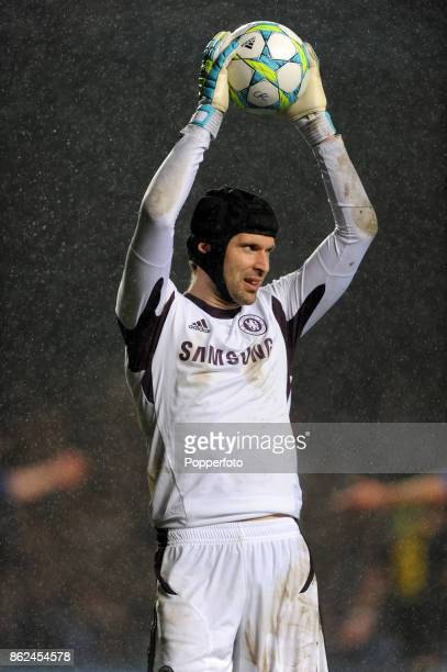 Petr Cech of Chelsea in action during the UEFA Champions League Semi Final 1st Leg at Stamford Bridge on April 18 2012 in London England