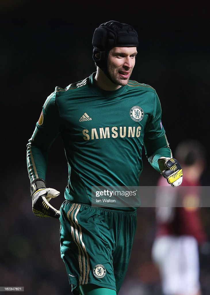Petr Cech of Chelsea looks on during the UEFA Europa League Round of 32 second leg match between Chelsea and Sparta Praha at Stamford Bridge on February 21, 2013 in London, England.