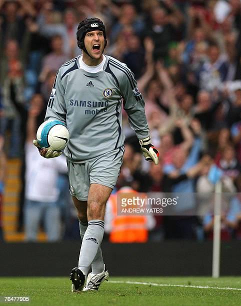 Petr Cech of Chelsea reacts after the second Aston Villa goal during the Premier league football match at Villa Park Birmingham England 2 September...