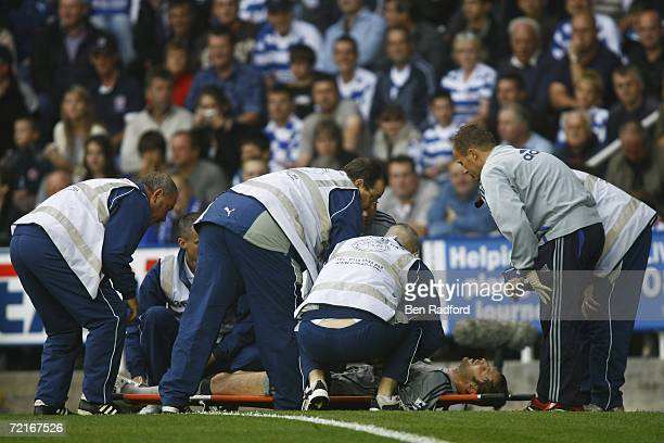 Petr Cech of Chelsea receives treatment during the Barclays Premiership match between Reading and Chelsea at the Madejski Stadium on October 14 2006...