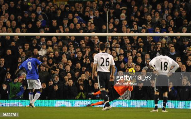 Petr Cech of Chelsea saves the penalty kick of Louis Saha of Everton during the Barclays Premier League match between Everton and Chelsea at Goodison...