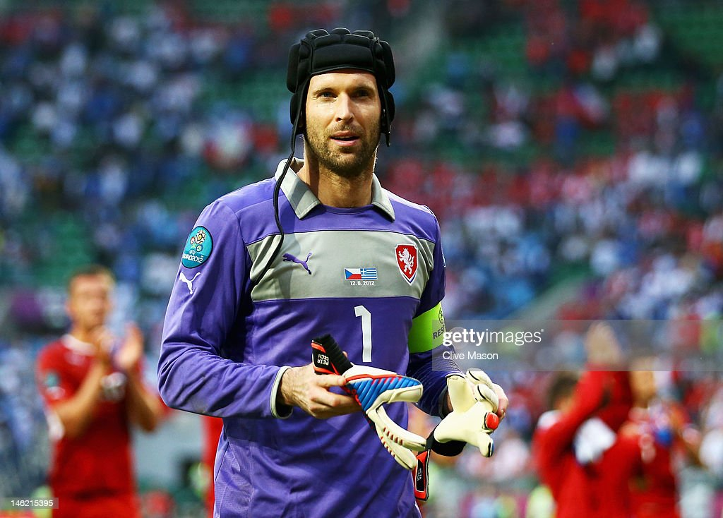 Petr Cech of Czech Republic looks on during the UEFA EURO 2012 group A match between Greece and Czech Republic at The Municipal Stadium on June 12...