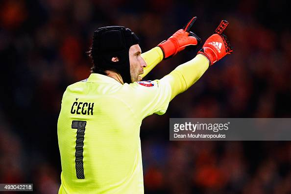 Petr Cech of the Czech Republic in action during the Group A UEFA EURO 2016 qualifying match between Netherlands and Czech Republic held at Amsterdam...
