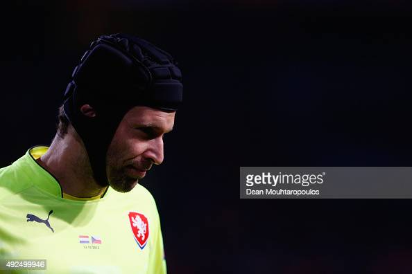 Petr Cech of the Czech Republic looks on during the UEFA EURO 2016 qualifying Group A match between the Netherlands and the Czech Republic at...