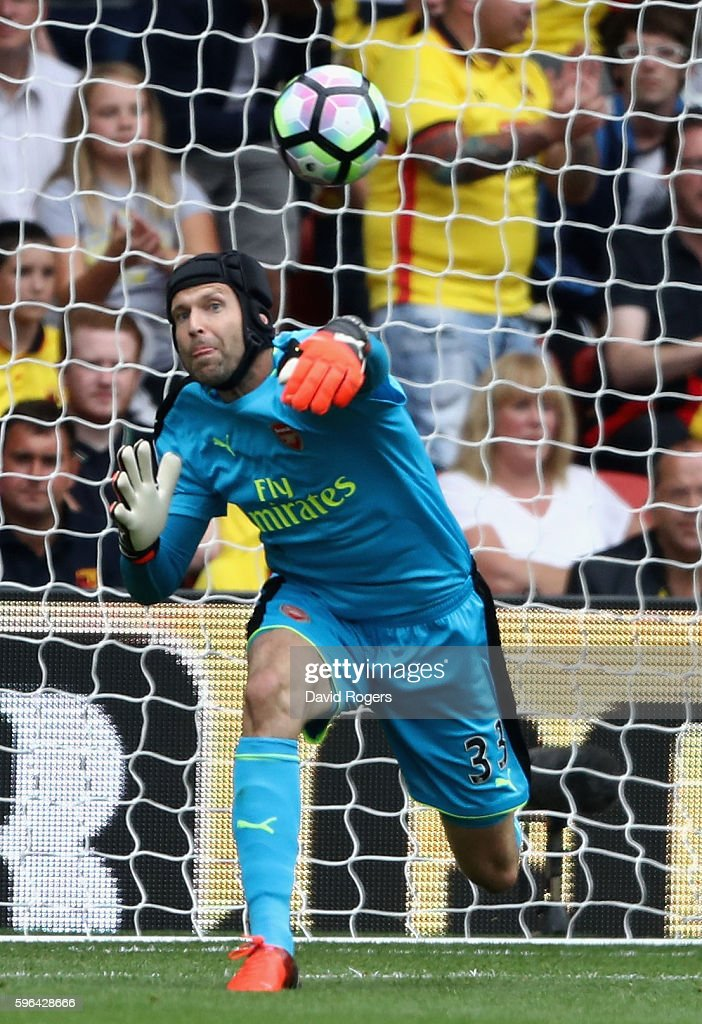 Petr Cech, the Arsenal keeper throws the ball during the Premier League match between Watford and Arsenal at Vicarage Road on August 27, 2016 in Watford, England.