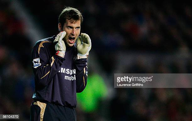 Petr Cech the Chelsea goalkeeper shouts instructions to his defence during the Barclays Premiership match between Manchester United and Chelsea at...