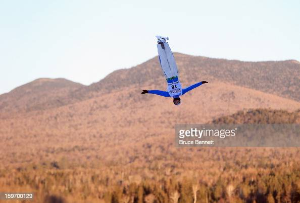 Petr Medulich of Russia practices prior to the USANA Freestyle World Cup aerial competition at the Lake Placid Olympic Jumping Complex on January 18...