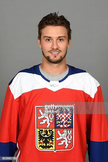 Petr Mrazek of Team Czech Republic poses for his official World Cup of Hockey head shot at the Czech Ice Hockey Association on September 5 2016 in...