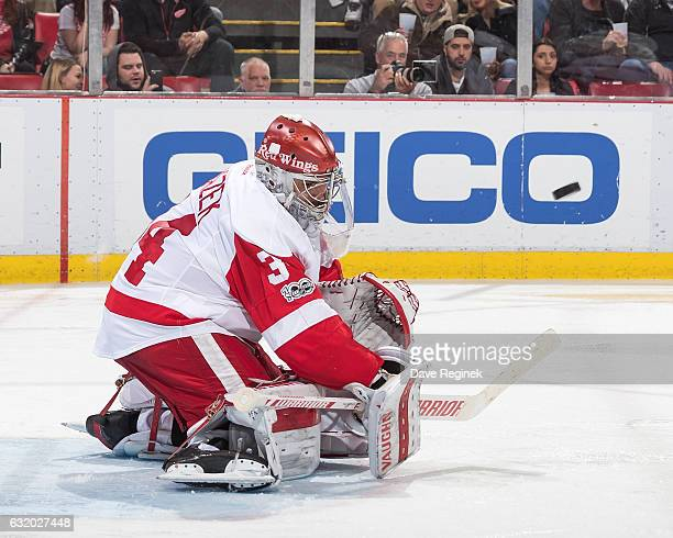 Petr Mrazek of the Detroit Red Wings blocks a shot during an NHL game against the Boston Bruins at Joe Louis Arena on January 18 2017 in Detroit...